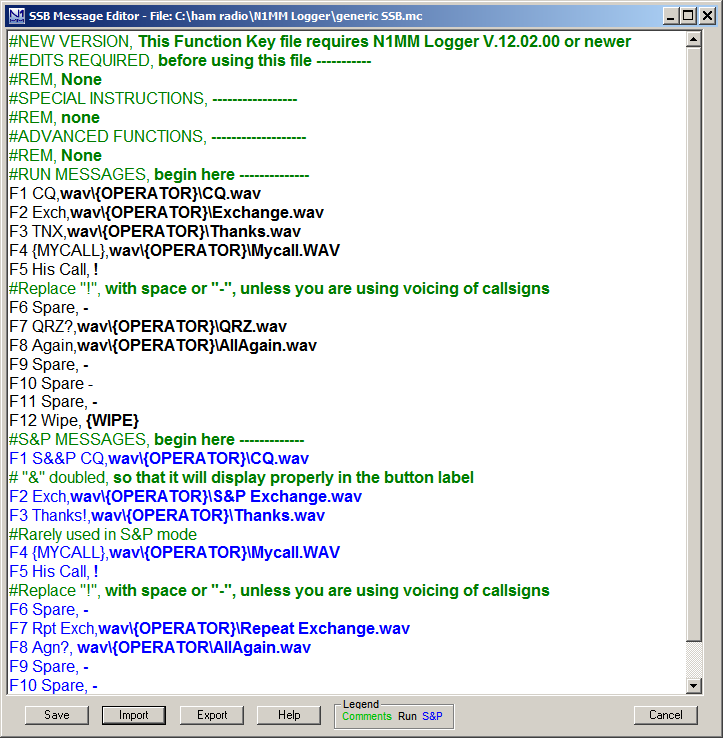 Classic SSB Message Editor V 7.01.02