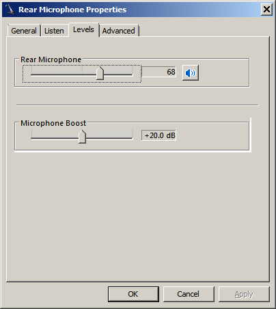 Classic Win 7 Microphone Sliders