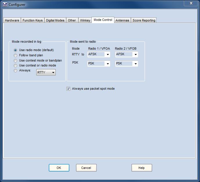 Configurer ModeControl