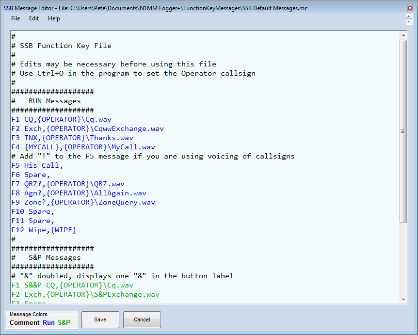 Default SSB Messages Shown In FKey Editor