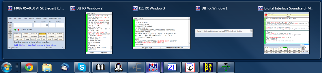 Windows task bar with icons and thumbnails for digital windows
