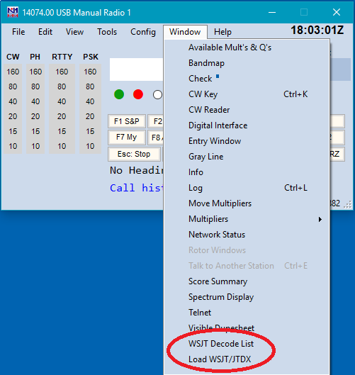 The WSJT Decode List Window – N1MM Logger Plus